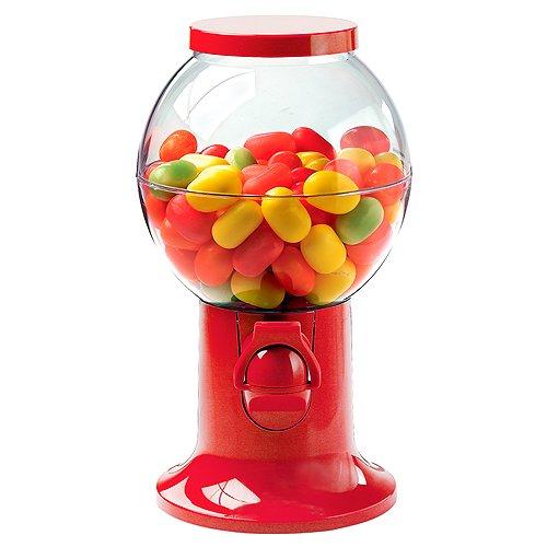 Dispensador de golosinas en rojo, de plástico, apto para galletas, mascar, caramelos izquierdo