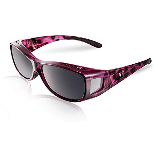 TINHAO Fit Over Sunglasses for Women – Polarized Fitover Sunglasses with 100% UV Protection for Driving,Fishing,Cycling,Running and Golf with Purple Frame