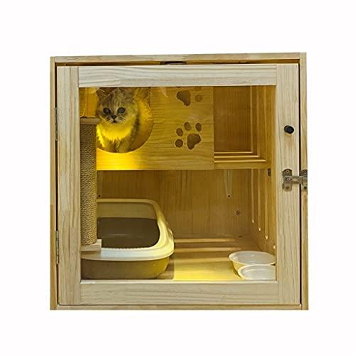 Productos para mascotas Criadero de madera maciza Juego de gatito interior y descanso. Cat villa cat bed jaula para gatos Casa para gatos con arena para mascotas Jaula de parque infantil para gatos