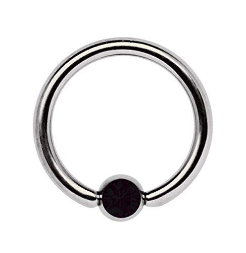 Piercing Íntimo, Piercing de Titanio Joyería Anillo Bcr 1,6 MM con Circonia Bola - Negro