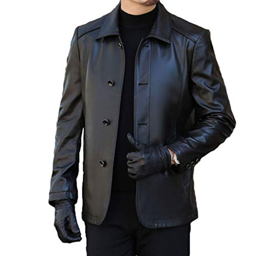 WERT Herren-Leder-Jacken und Mäntel Klassische Herbst-Winter-Ledermantel Einreiher Revers Outwear Winddichtes Reefer Peacoat,Black-L