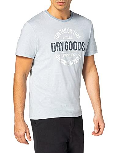 TOM TAILOR Herren 1025985 Print T-Shirt, 20561-Lightblue White Stripe, 3XL