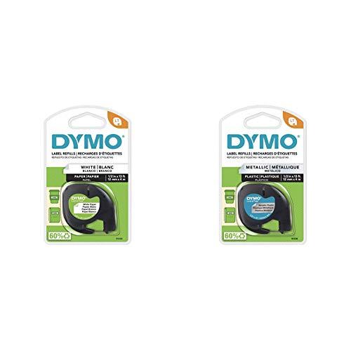 "DYMO LetraTag Labeling Tape, Black Print on White Paper, 1/2"" W x 13' L, 1 Cassette & LetraTag Labeling Tape, Black Print on Metallic Silver Tape, 1/2'' W x 13' L, 1 roll (91338)"