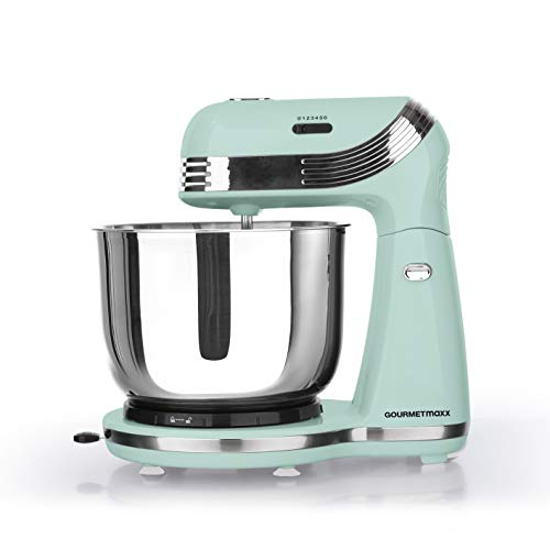 GOURMETmaxx Edelstahl Küchenmaschine Retro 'Mint' | Multifunktions-Mixer zum Rühren, Mixen & Kneten im 50er Jahre Retro Style | 6 Geschwindigkeitsstufen, inkl. Schneebesen und Knethaken, 250 Watt