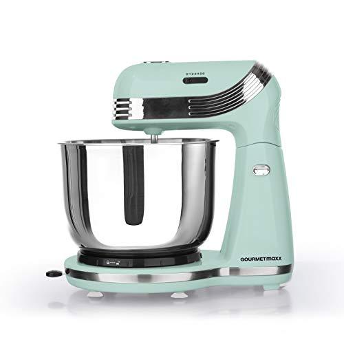 GOURMETmaxx Retro Küchenmaschine Multifunktional | Knetmaschine mit Zubehör | Teig-Maschine für Brot Kuchen Kekse | Teig Rührmaschine mit Schüssel und Aufsätzen [250 Watt]