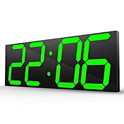 TOPYL Led Digital Wall Clock, Modern Extra Large Display with Adjustable Brightness, Multifunction Clock Calendar Countdown Thermometer-Green 45x16x2.4cm(18x6x1inch)