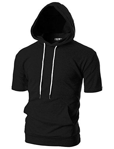 Ohoo Mens Slim Fit Short Sleeve Lightweight Hoodie With Kanga Pocket/DCF013-BLACK-S