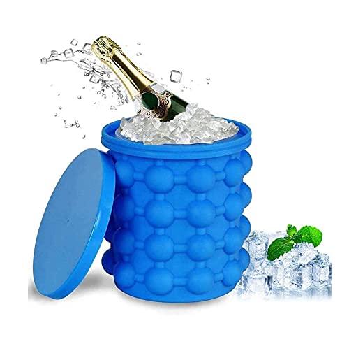 YMXLXL Hielo Cubo de Champán con Tapa - Resistencia a Altas y Bajas Temperaturas - Ahorra Espacio - Sin BPA Cubo de Hielo de Plástico - Cubitera para Cócteles/Hogar/Bar(13.5 × 13.5 × 15cm)