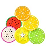 Tumao 7 Stück kreative Silikon Frucht Untersetzer Frucht-Scheiben Silikon Untersetzer, Getränk...
