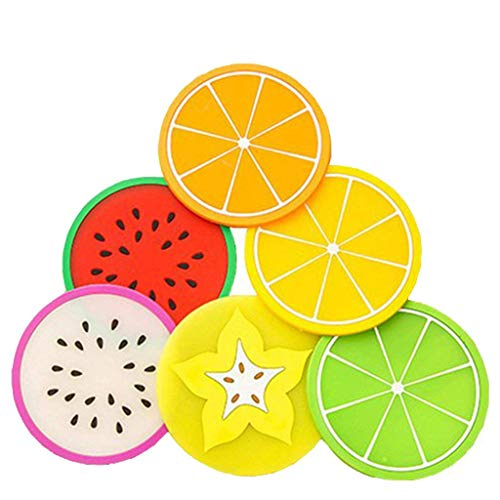 Tumao 7 Stück kreative Silikon Frucht Untersetzer Frucht-Scheiben Silikon Untersetzer, Getränk Kaffee Tee Glas Glasuntersetzer Becher Halter Mat für Küche Wohnzimmer und Bar.