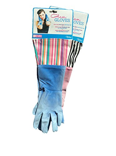 2 Pair-Glam Gloves Extra Long Latex Gloves with Vinyl Cuff, 2 Pair, Design and Colors may Vary