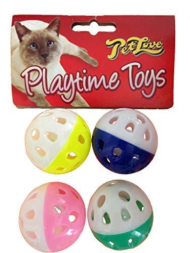 Pet Love Pet Love, Jouets Balles À Clochettes Pour Chats Et Chatons, Lot De 4 Pour Chat