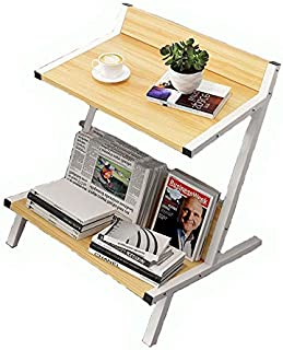 Home Bookshelf Bookcase Shelf Wood Double Layer Coffee Table Living Room Sofa Side Table Small Dining Table Organizer Stor...