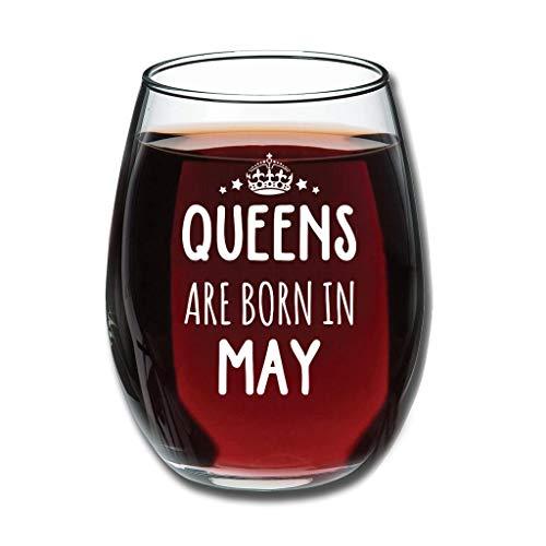 Gaolucky Copa de vino divertida con texto en alemán 'Königin wird im Mai', 350 ml, idea de regalo perfecta para el mejor amigo, amiga o compañera, color blanco
