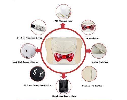 MU Tragbare multifunktionale Home Dual-Use-Taille und Nackenmassage Kissen Handheld Wire Control Infrarot-Therapie Reis? Weiß