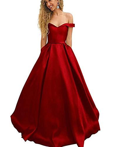 Stillluxury Schulterfreies Abendkleid, Satin, mit Taschen, langes Ballkleid P198 Gr. 36, rot