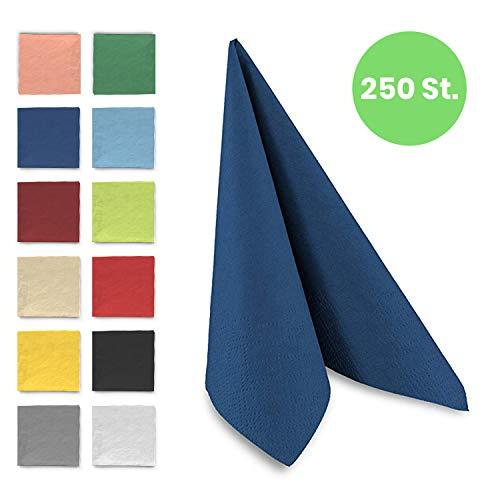 Tafel-Servietten, 3-lagig, 33 x 33 cm, Inhalt 250 St, in unterschiedliche Farben, jeweils abgestimmt auf Einrichtung & Dekoration, für Gastronomie & Zuhause, hochwertiges Material, blau