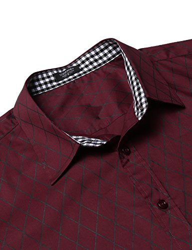 COOFANDY Herren Hemd Slim Fit Diamant-Gitter Karohemd Kariert Langarmshirt Freizeit Business Party Shirt für Männer - 5