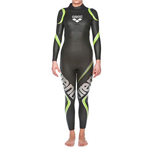 arena Damen Profi Wettkampf Triathlon Neoprenanzug Carbon (Optimale Wasserlage, Verbesserte Bewegungsfreiheit), Black (50), XS