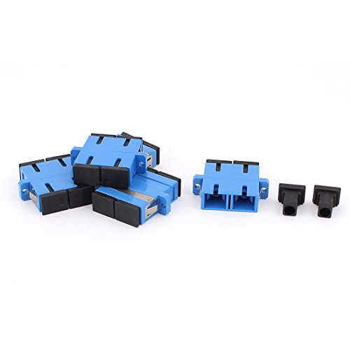 DealMux 5 Pcs SM SC-SC UPC Duplex acopladores flange de fibra óptica adaptadores Azul