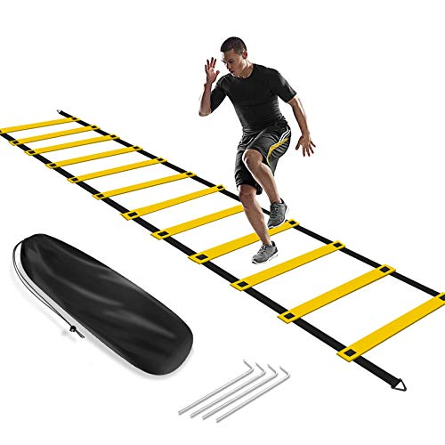 KIKILIVE Agility Ladder, Speed Agility Training Footwork Equipment 12 Rung 20ft with Carrying Bag for Sports Soccer, Football, Exercise Fitness