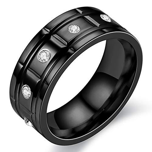 HFSKJWI Anillo de Acero de Titanio con Incrustaciones CE Diamantes,Anillo de Acero Inoxidable,Accesorios Exagerados,Anillo de Pareja, 8 Mm de Ancho,Negro,No. 8