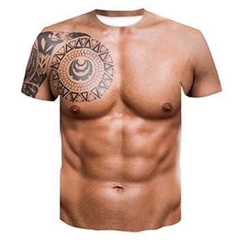 Rxan Muscle Tattoo Print T-Shirt Men Short Sleeve 3D Digital Printing T-Shirt
