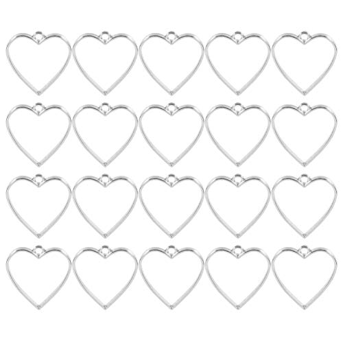 Milisten 20pcs Heart Shape Open Bezel Pendants Charms Resin Molds for Jewelry Findings DIY Pressed Flower Frame Hollow Trays for Wedding Valentines Day Earrings Necklace Silver