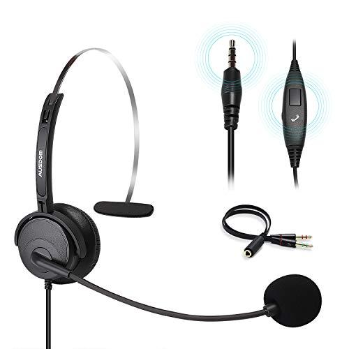Auriculares para computadora con micrófono con cancelación de Ruido, Ausdom BH01 Auriculares para teléfono de una Cara con Cable de 3,5 mm y Control de Volumen para PC portátil