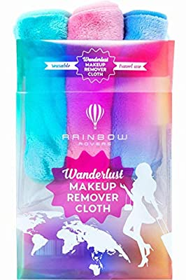 RAINBOW ROVERS Set of 3 Makeup Remover Cloths   Reusable & Ultra-fine Makeup Towels   Suitable for All Skin Types   Removes Makeup with Water   Free Bonus Waterproof Travel Bag   Unicorn