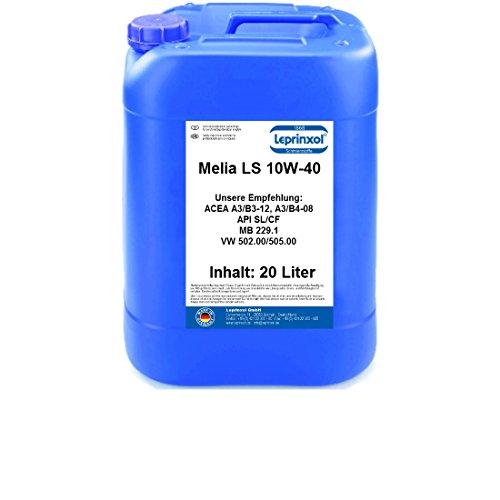 Leprinxol 20 Liter Melia LS 10W40 MOTORÖL für V W Norm 505 00, 505 01; MB 229.1; ACEA A3 B3; API SL CF 10W-40