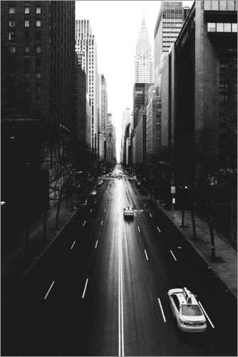 Posterlounge Acrylglasbild 20 x 30 cm: Die Straßen New Yorks - 42nd Street (monochrom) von Sascha Kilmer - Wandbild, Acryl Glasbild, Druck auf Acryl Glas Bild