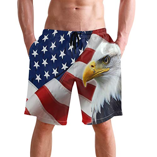 visesunny Men's American Flag Eagle Beach Shorts Hot Summer Swim Trunks Sports Running Bathing Suits with Mesh Lining