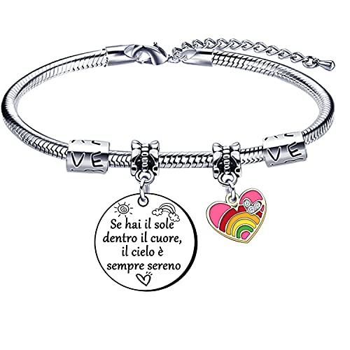 Pulsera para mujer de acero con inscripción 'Si tienes el sol dentro del corazón', el cielo es siempre sereno, regalos inspiracionales en cumpleaños o Navidad