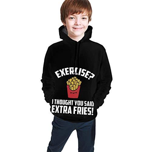 shenguang Ejercicio Pensé Que habías Dicho Extra Fries Niños Niñas Juventud Manga Larga Sudadera con Capucha Pullover