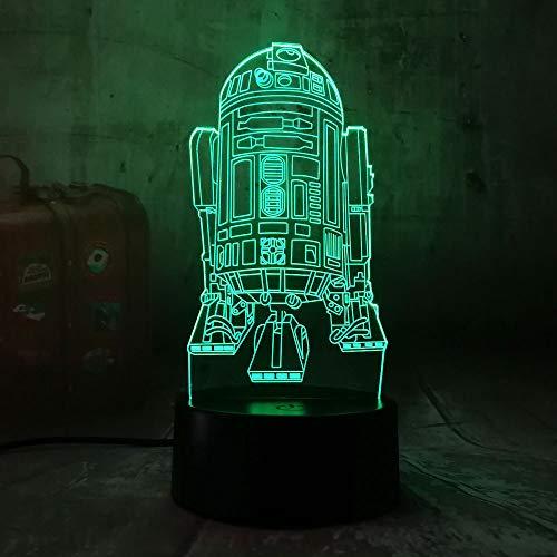 Wangzj Lámpara visual 3D ilusión óptica llevó luz nocturna/lámpara de escritorio USB/7 colores lámparas/regalo para niños/nave de guerra R2D2