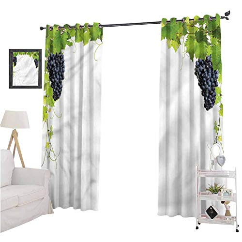 Aishare Store Blackout Curtain Set, Vineyard,Wine Leaves in Village, 84 Inches Long Blackout Curtains for Boys Bedroom, Set of 2 Panels