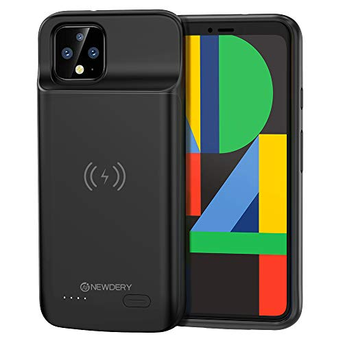 NEWDERY Google Pixel 4 XL Battery Case, Qi Wireless Charging Compatible, 5000mAh Slim Extended Rechargeable External Charger Case Compatible Google Pixel 4 XL