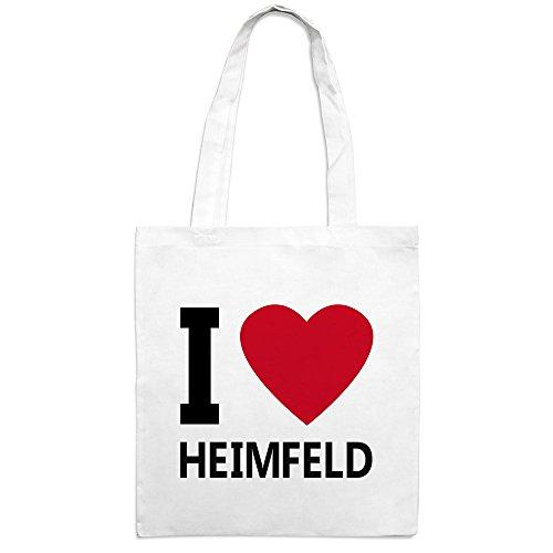 Jutebeutel mit Stadtnamen Heimfeld - Motiv I Love - Farbe weiß - Stoffbeutel, Jutesack, Hipster, Beutel