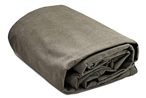 """WHITEDUCK Canvas Tarp Heavy Duty Waterproof 18 oz. Mold & UV Resistant, Rustproof Grommets, Industrial & Commercial Cloth Tarp (Cut Size: 7'x9', Finished Size: 6'6' x8'6"""", Olive)"""