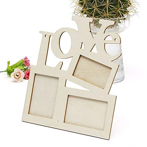 OWEN 1PCS Durable Lovely Hollow Love String Wooden Family Photo Picture Frame White Base Art Home Decor