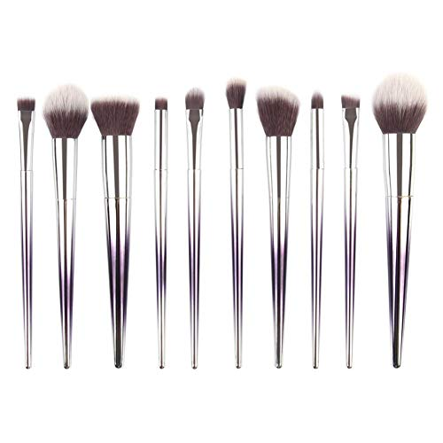 Everpert Juego de 10 brochas de maquillaje para espejo (morado)