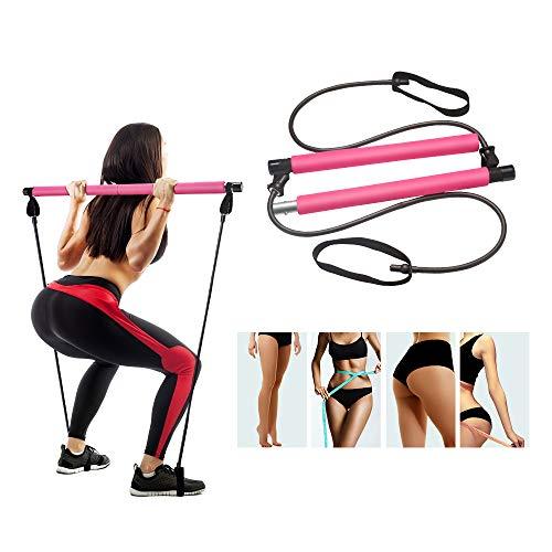 STRPRETTY BASIC Pilates Bar Kit with Resistance Band Yoga Pilates Stick Pink