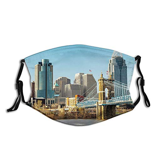 Reusable Half Bandanas M-Shaped Nose Clip , Sunny Days at Midwest Metropolitan American Suspension Bridge Photograph Print,Breathable Sports Mouth Cover