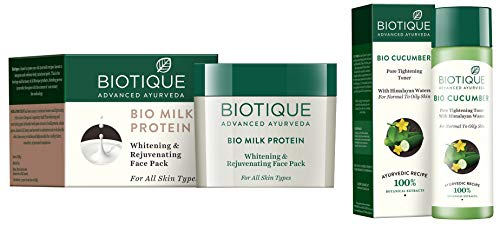 Biotique Bio Milk Protein Whitening & Rejuvenating Face Pack For All Skin Types, 50G And Biotique Bio Cucumber Pore Tightening Toner, 120ml