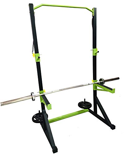 RISE UP Squat Stand with Bench Biceps Rowing Pull up bar etc Fully Adjustable { Capicity up to 250 kg }, Steel