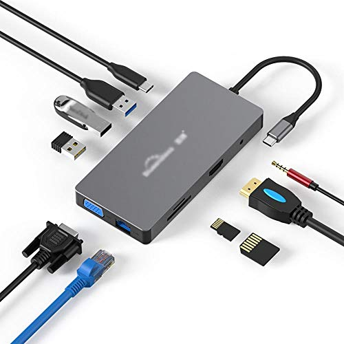 WNN-URG Adaptador multipuerto Hub USB C, 10-en-1 Adaptador de Aluminio Portable del Espacio con Salida HDMI 4K, Tipo C-PD, 3 USB 3.0, Ethemet, SD TF, Audio de 3.5mm URG