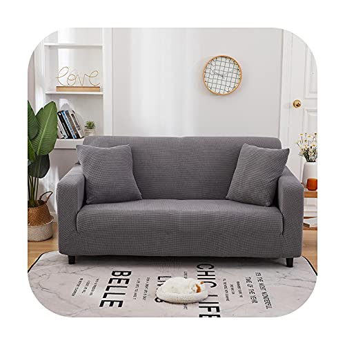 Mattsglobal Tjockt fast färg sofföverdrag jacquard L-formad hörn stretch vardagsrum soffa överdrag stolskydd 1/2/3/4 sits-ljusgrå S-10 enkelt säte 90 x 140 cm