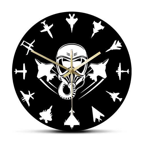 xinxin Reloj de Pared Aviones a reacción Militares Reloj de Pared Moderno Jet Fighter Reloj de Pared silencioso Aviación Arte de la Pared Aviones aéreos Aviador Decoración del hogar Regalo de piloto
