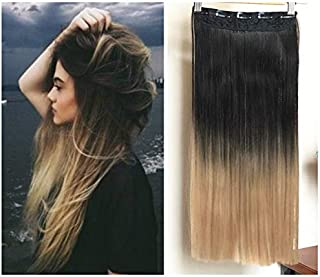 """20"""" 22"""" Thick Long Straight Wavy Curly One Piece Ombre Clip in on Hair Extensions Hairpieces with 5 Clips 120grams (22"""